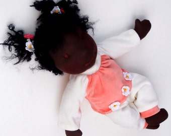 AnnaBella - Waldorf doll baby 14 in doll in dark colored skien , white coral clothes