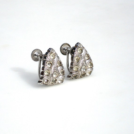 Art Deco Rhodium Silver Earring with Crystal Stones