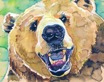 POSTER SIZED Grizzly Bear Watercolor Painting Print, Artist-Signed
