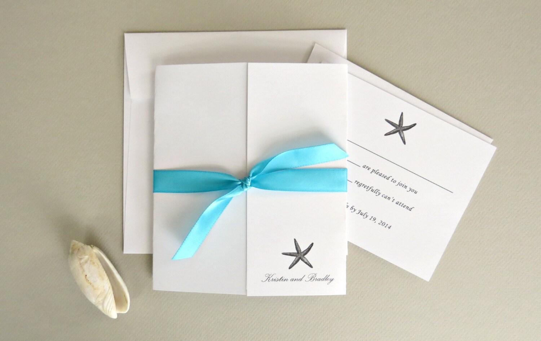 Etsy Beach Wedding Invitations: Starfish Beach Wedding Invitation And Response Card Set