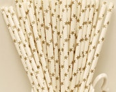 Paper Straws, 25 GOLD STARS Paper Drinking Straws, Gold Star Straws, Engagement Party Straws, Wedding Paper Straws, Graduation Party Straws