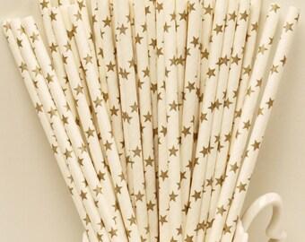 Paper Straws, 25 GOLD STARS Paper Drinking Straws, Gold Star Straws, Engagement Party Straws, Wedding Paper Straws, Graduation Party Straws