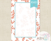 Monogram Notepad - Personalized Notepad - Custom Note Pad - CORAL Collection - Shell and Blue