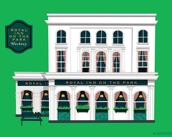 London Pub Poster - Royal Inn On the Park - Hackney, London, Art Print