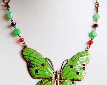 Butterfly Statement Necklace - Lime