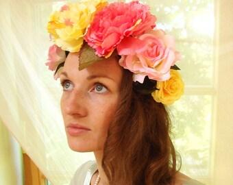 Flower corwn, wedding crown, floral wreath, large rose crown, peony festival headband, summer fashion