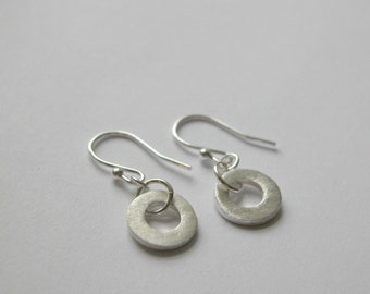 Matte Finish Fine and Sterling Silver Donut Drop Earrings