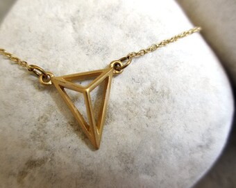 Gold Triangle Necklace, Gold Necklace, Triangle necklace, Matt Gold Necklace, Geometric Necklace, Trendy Necklace