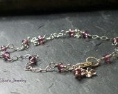 Garnet Anklet Sterling Silver 925 Wire Wrapped Microfaceted AAA Luxe