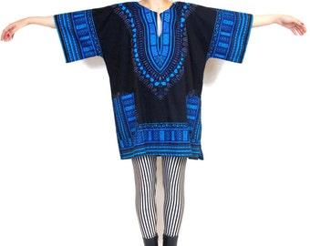 70s Hippie Boho Ethnic Tunic Blouse Festival Kaftan Shirt Black Blue Printed Cotton Top (L/XL)