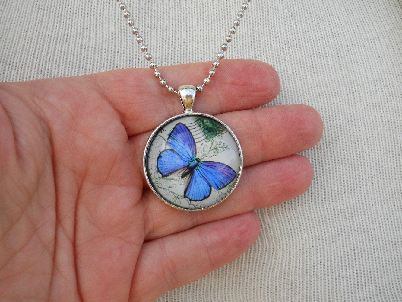 Blue Butterfly Jewelry: Blue Butterfly Necklace Art Glass Pendant Butterfly Jewelry