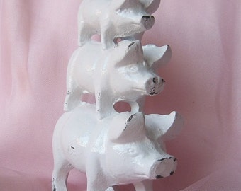 Cast Iron Pig Statue/ Farmhouse Chic / Paper Weight/ Home Decor in Rustic White