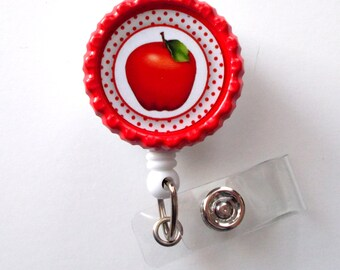 Apple Polka Dot - Retractable Badge Reels - Teacher Badge Holder - School Badge Reel - Teacher Appreciation Gift - Preschool Teacher Badge