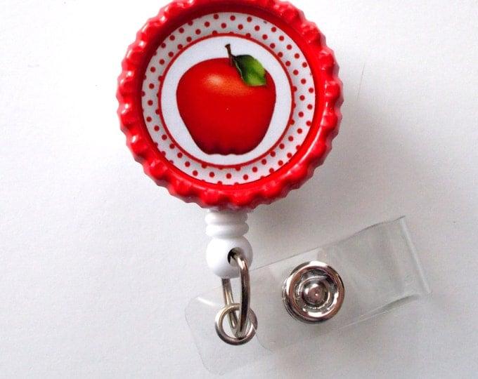 Apple Polka Dot - Retractable Badge Reels - Teacher Badge Holder - School Badge Reel - Teacher Appreciation Gift - Preschool Teacher Badge