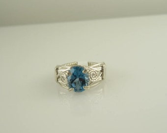 RI-0028 Natural London Blue Topaz Handmade Ring Wire Wrapped With Sterling Silver Wire