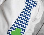 Boys St Patrick's Day Boys Tie Shirt or Bodysuit in Navy Chevron with Green Shamrock