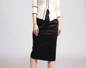 High Waist Pencil Skirt with Pockets - Black