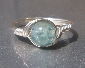 AA Green Apatite Argentium Silver Wire Wrapped Gemstone Ring