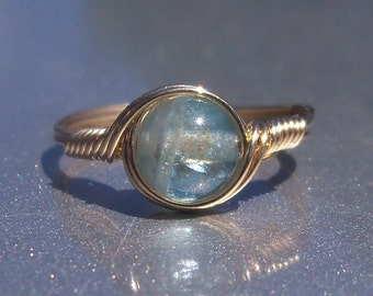 Green Apatite 14k Yellow Gold Fill Wire Wrapped Gemstone Ring