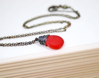Red and Black Necklace, Oxidized Sterling Silver Black Wire Wrap Jewelry, Frosted Red, Cranberry Teardrop, Winter Jewelry