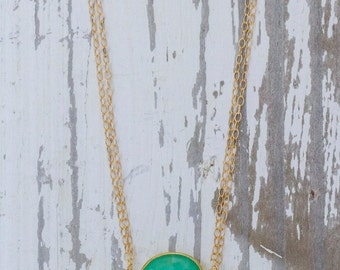 Chryosprase pendant set in 14k gold filled on a double 14k gf chain