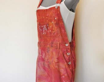 Red Orange Jrs. Large Bib OVERALL Shorts - Hand Dyed Tomato Red Pooh Disney Cotton Overall Shorts - Adult Womens Juniors Large (34 waist)