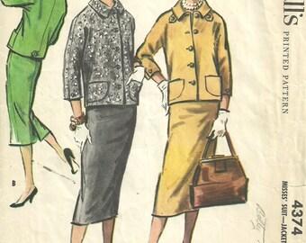 Vintage 50s Sewing Pattern / McCalls 4374 / Skirt Jacket Suit / Size 12 Bust 32