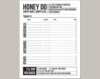 instant download printable sheet: honey do list