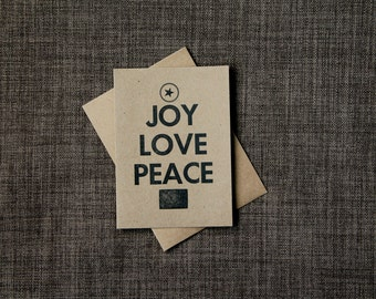Christmas Card - SALE - Kraft Paper Rustic Stationery - Letterpress Card - Joy Love Peace - Single Card, Christmas in July