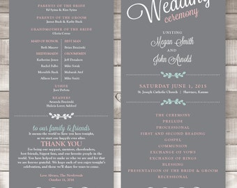 Wedding Programs - 4x9 inches Soft Gray - Style P2 - JULIETTA COLLECTION | wedding programs  |  ceremony program  |  programs - PRINTED