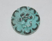 40% off...Vintage Style Czech Glass Button, Lovely Seafoam Aqua with Silver, Floral Design, 22mm Diameter, One Piece