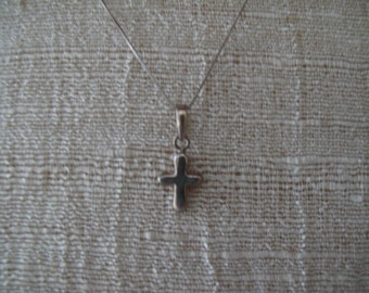 Sterling Silver Cross Necklace Estate Jewelry