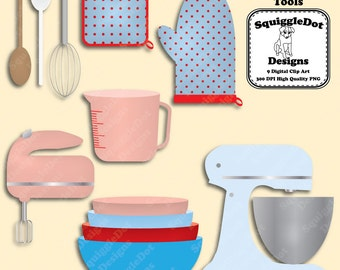 Printable Clip Art for Digital Scrapbooking Embellishments for Cards and Crafts Set of 9 - Baking Tools - Instant Download