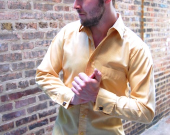 Mens Gold Pinstriped Vintage French Cuff Shirt -- Early 70s Pinstriped Shirt