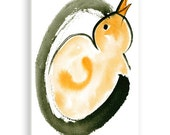 Enso, Chick and Egg ,Which came first, Original Zen Art, Sumi ink and Watercolor Painting, zen decor, childs room art, japanese illustration