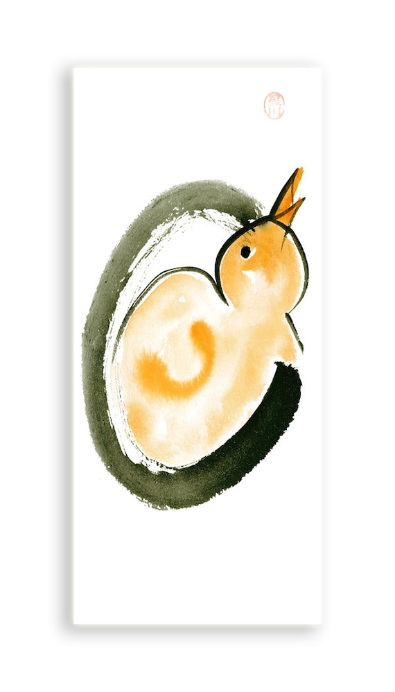 Year of the Rooster Chinese New Year, Enso, Chick and Egg, Original Zen Art, Sumi ink, Watercolor Painting, zen decor, childs room art