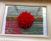 Red Baby Headband on gold glitter elastic, Headband, Baby Girl Headband, Newborn Headband