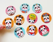 "50% OFF Set of 10 - Oh! Panda Round Stickers 1.5"" (10 designs) - Product Stickers, Gift Seals, Envelope Seals, Envelope Labels, Gift Seals"