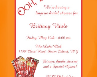 "Red Corset Invitation / Bustier Lingerie / DIY Printable 5""x7"" Invite / Bachelorette Bash, Girls Night Out, Bridal Shower, Birthday"