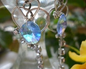 Sterling Silver Hearts and Crystals Earrings