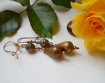 Brass and Copper Elegant Drop Earrings
