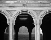 Black & White NYC Art, Bethesda Arches, Central Park Photography, New York Print, Architecture Art