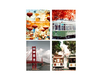 SALE, San Francisco Art, Red, Orange, Green, San Francisco Prints, Travel Photography, Set of 4 prints, Colorful