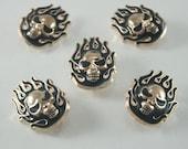 5 pcs. Zinc Gold Tone Fire Head Skull Rivets Studs Leather Craft Decoration Findings 20 mm. SK G20 503