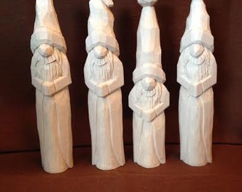 Paint It Yourself Santa Wood Carving Hand Carved Handmade