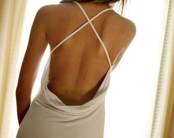 White Wedding Lingerie- Backless Nightgown- Sleepwear Dress