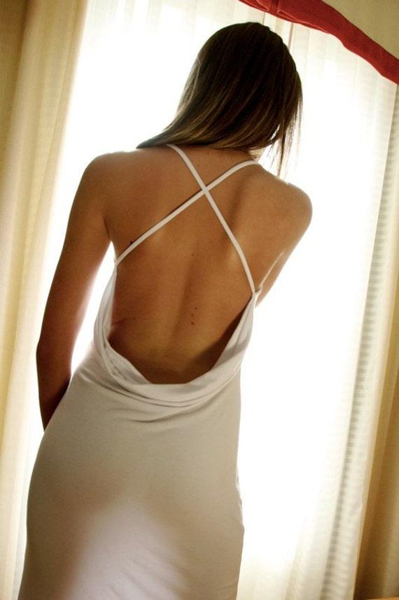 White Wedding Lingerie- Backless Nightgown- Sleepwear Dress