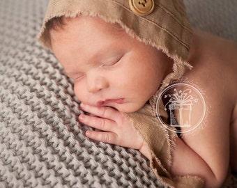 Newborn Boy Hat. Newborn Boy Bonnet. Organic. Natural. Tan. Baby. Infant. Infant Boy Props. Photography Prop. Newborn. ETHAN. Tolola Design.