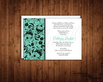 Damask Bridal Shower Invitations, Damask Wedding Invitations, Aqua and Black Wedding Invitations, Aqua Damask Invitation, Aqua Bridal Shower