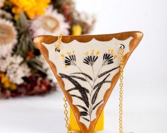 Triangle, Geometric Pendants, Geometry Necklace, Clay Jewelry, Biology, Flowers Drawing, Woodland,Pocelain, Art Nouveau, Wearable Planter